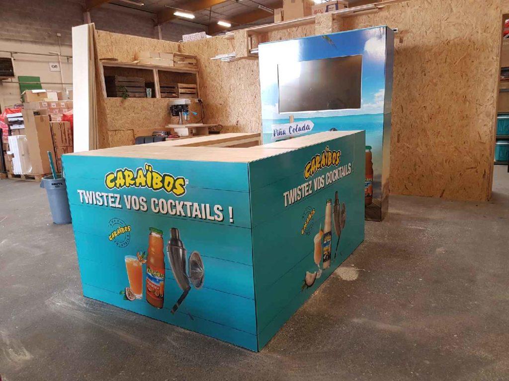Fabrication et montage stand en bois dans l'atelier de menuiserie Prodezza