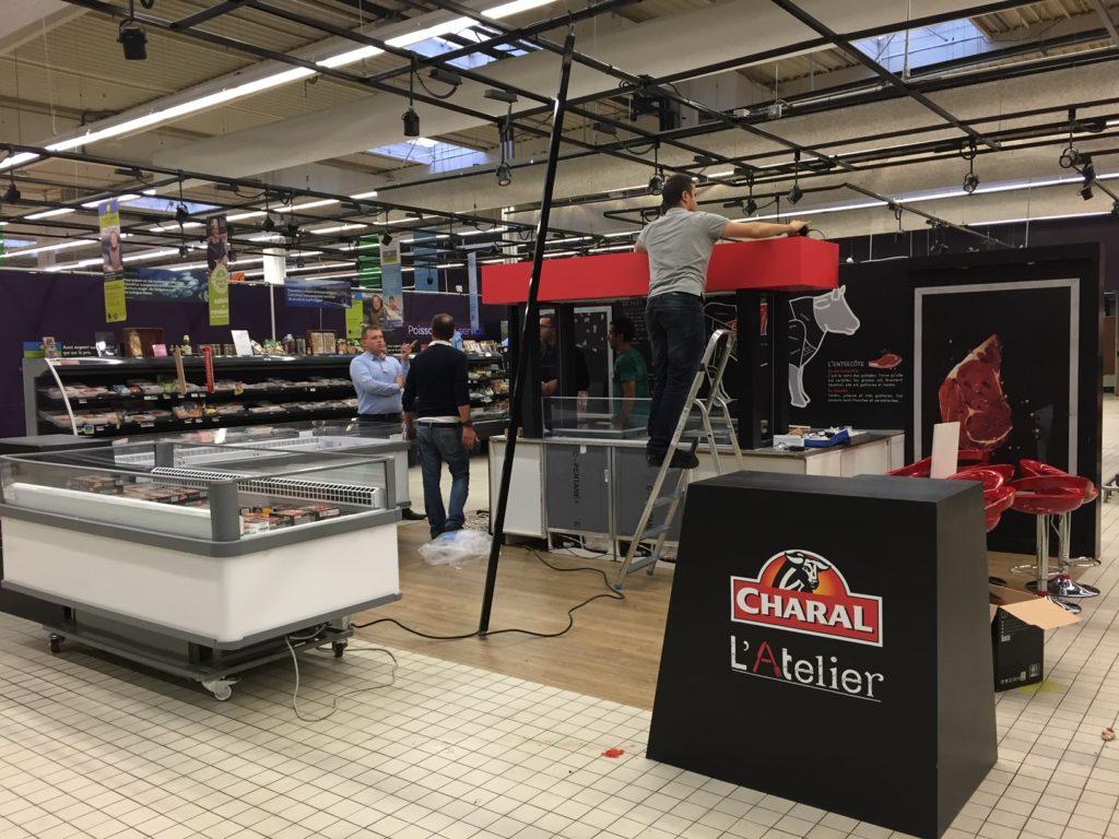 Installation stand événementiel en hypermarché